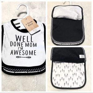 🆕3pk WELL DONE MOM, I'M AWESOME Baby Bibs